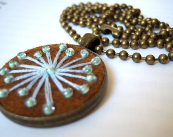 Bronze, bronze tone pendant necklace embroidered felt snowflake ball chain