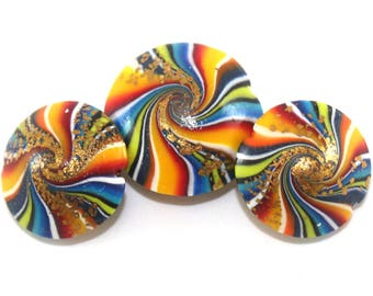 3 unique rainbow wave swirl resin beads w gold glitter, handmade cosmic polymer clay ombre millefiori  DIY jewelry making pendant charms