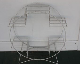 Mid Century Metal Plant Stand, Outside/Inside Bar Cart, White Atomic Circular Multi Shelf Stand, Circular Stand, Chippy Paint, Bookshelf