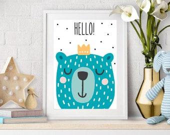 Printable Nursery Wall Art Print, Kids Art Print, Animal Nursery Print, Instant download, Owl poster, Kids room, Digital
