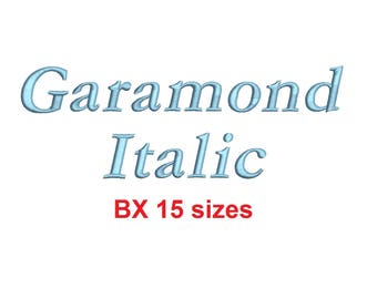 Garamond Italic embroidery BX font Sizes 0.25 (1/4), 0.50 (1/2), 1, 1.5, 2, 2.5, 3, 3.5, 4, 4.5, 5, 5.5, 6, 6.5, and 7 inches