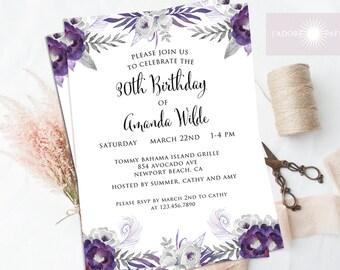 Birthday Invite, Floral Birthday Invite, Purple Birthday Invitation, Watercolor Invites, Adult Birthday, Any Age, Printable, jadorepaperie