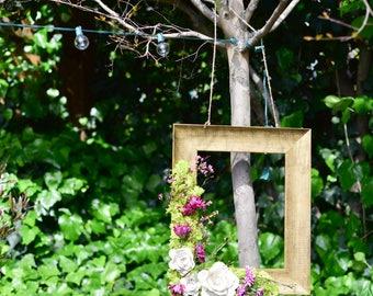 Moss & Flower Picture Frame - Wedding Decor - Home Decor
