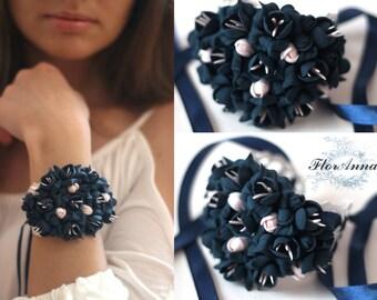 flower bracelet, black bracelet, black peony, peony bracelet, bride jewelry, bridesmaids gift, gift for her, black corsage, black bride