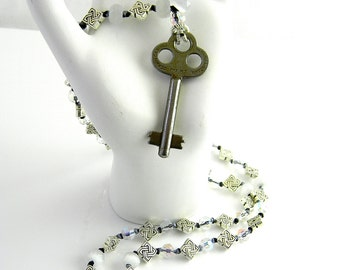 """Hand Knotted Silk 26"""" Steampunk Religion Necklace No 11  with antique key glass and silver tone beads"""