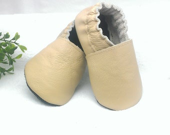 SALE! Beige soft sole leather baby shoes, leather baby shoes, soft soled baby shoes, baby slippers, toddlers moccasins, crib shoes