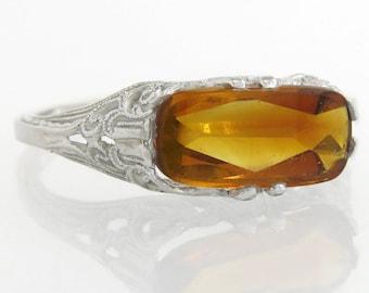 Antique Estate 18K White Gold 2.50ct Orange Topaz Art Deco Ring