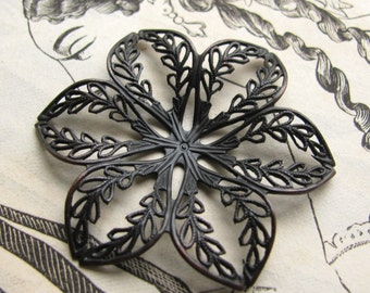 Leaf lined  flower filigree, aged black patina, dark antiqued brass, 42mm bendable wrap or ornament, made in the USA, lead nickel free