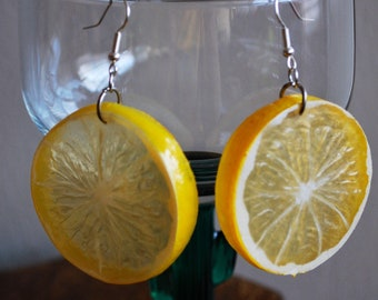 Lemon Slice Earrings yellow plastic fruit, lemon earrings