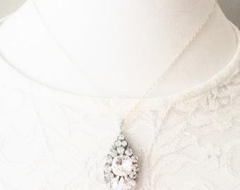 Rhinestone Wedding Pendant Necklace, Clear Crystal Rhinestone Bridal Jewelry, Luxury Wedding Rhinestone Pendant, Wedding Necklace