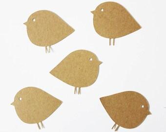 5 marque-places - oiseau - kraft