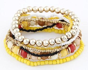 Beautiful multi strand yellow gold expandable Bracelet
