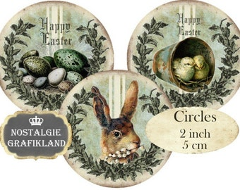 Easter Rabbit Hare Eggs Chicks Circles 2 inch Vintage Instant Download digital collage sheet C293