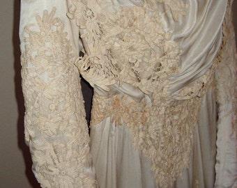 Original Edwardian Cream Silk Satin Heavy Lace Trim Wedding/ Ball Gown Iten # JH 152  Wedding Apparel