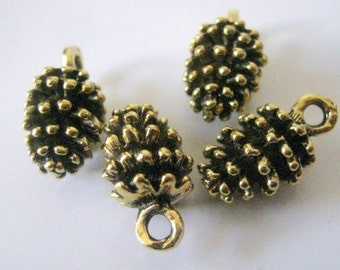 5 Antique Gold Pine Cone Charms, 15x8mm, Jewelry Making Supplies, Pine Cone Charms   1162