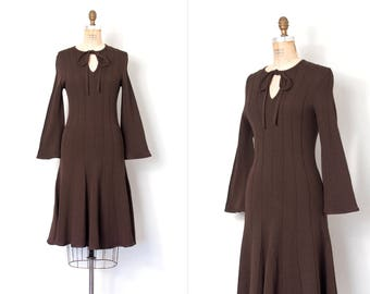 vintage 1970s dress / 70s chocolate brown knit dress / bell sleeves (small s)