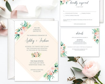 The Ashley Invitation Suite, Floral Watercolor Wedding Invitations, Boho Wedding Invitations, Printable