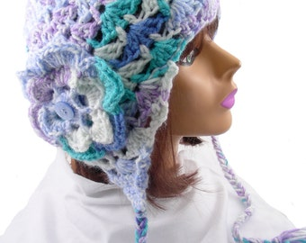 Turquoise, Lavender & Blue Earflap Hat with Flower, EF129-01