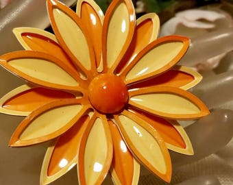 1960's Orange & Yellow Enamel Daisy Flower Floral Brooch Jewelry Vintage Retro