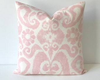 Blush pink and ivory white ikat decorative pillow cover