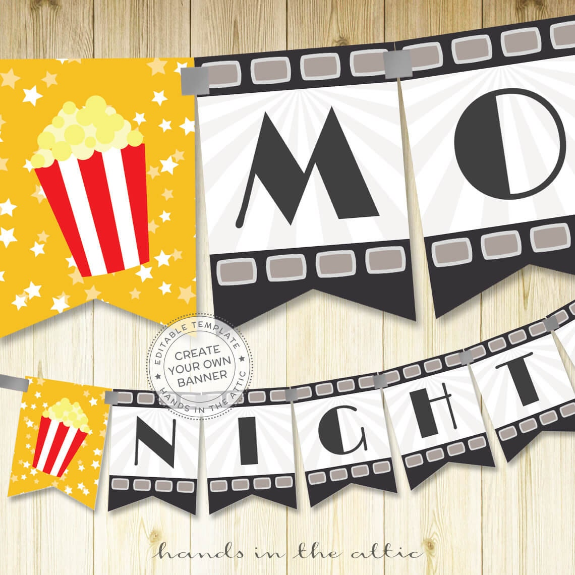 Film night party banner template editable DIY banner movie