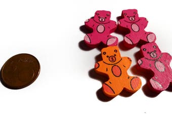 A set of 4 wood beads pink and orange Teddy bear 30 mm