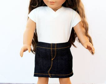 Fits like American Girl Doll Clothes - Mini Denim Skirt | 18 Inch Doll Clothes