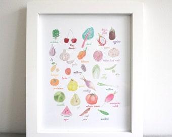 Alphabet Fruits and Vegetable 8x10 Print. Kitchen art. Wall art decor.