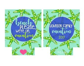 Starfish Beach Family Vacation Bachelorette Party/Wedding Beverage Insulator/Hugger