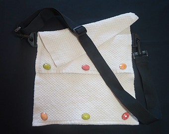 """Re-purposed & Re-used! White Messenger Bag; Adjustable Bag; Red, Orange, Green """"Turtle"""" Buttons"""