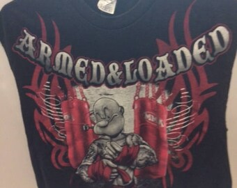 Popeye armed and loaded t shirt cropped size medium