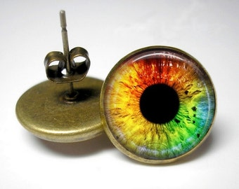 Colorful Cat's Eye - 12mm Earrings - Choice of Studs or Dangles
