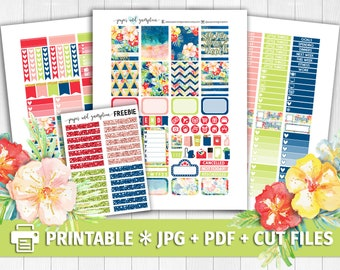TROPICAL BLOOMS Printable Planner Stickers/for use with Erin Condren/Weekly Kit/Cutfiles/Summer Floral Tropical Red Blue Fourth of July