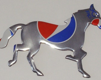 Horse - Mustang Magnet - Silver Patriotic Red White Blue Diet Pepsi (Replica)