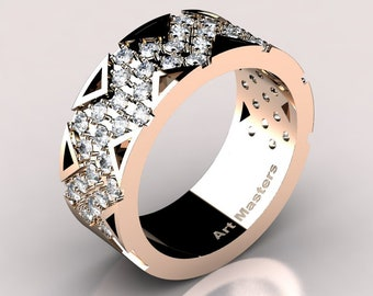 Womens Modern 14K Rose Gold Diamond Wedding Band R805F-14KRGYD