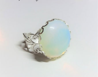 Ring with natural opal gemstone for women