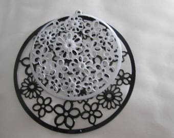 prints 4 /connecteurs round black and white filigree 55 mm and 42 in