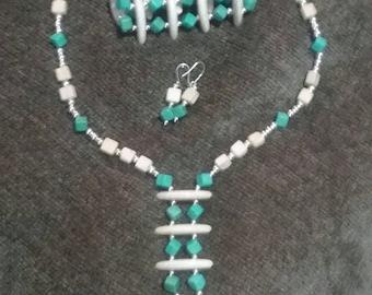 Tan & Turquoise Jewelry Set (#291)