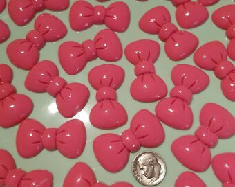 6Bows Cabochon Pastel Flatback Flat Back Coloured Bow Resin Kawaii to Glue for Phone DIY Custom Pink 39mm