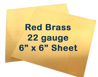 Red Brass Sheet Metal - 22 Gauge - 6 x 6 Inches - Choose Your Quantity