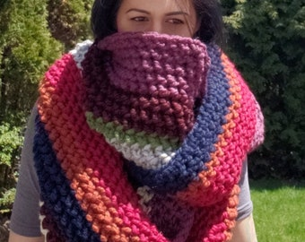 Multicolored Crochet Blanket Scarf, Blanket Scarf, Oversized Scarf, Winter Accessories, Crochet Scarf, Infinity Scarf, Colorful Scarf