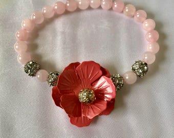 Rose Quartz Pink Flower Bracelet