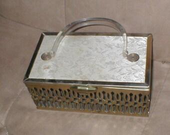 circa 1950's Vintage Brass & Lucite Box Purse