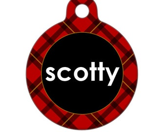 Personalized Pet ID Tag - Scottie Red Plaid Custom Name Pet Tag, Dog Tag, Cat Tag