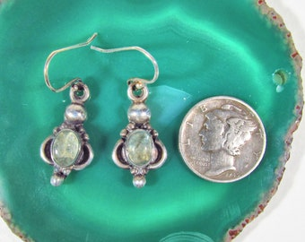 Vintage 925 Sterling Silver Bali Style Earrings with Jadeite or Spinel Cabochon Stones, French Hooks