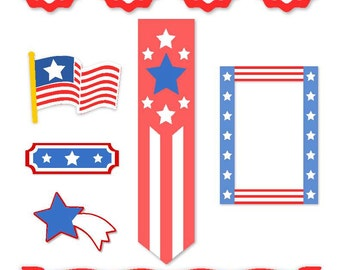 American / Patriotic Vector Art SVG Files - Banner, Flag, Stars and Stripes, Frame, Swag