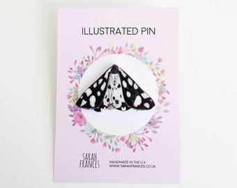 Tiger Moth Pin - British Moth Pin - Insect Brooch - Wildlife Pin - Shrink Plastic Pin - Moth Badge - Nature Lover Gift - Nature Pin