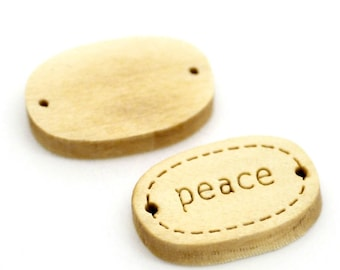"""10 x tags labels in oval """"PEACE"""" natural wood"""