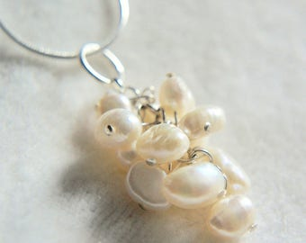 Christmas gift, Jewellery, necklace, jewelry, handmade, ivory, freshwater pearl pendant silver necklace