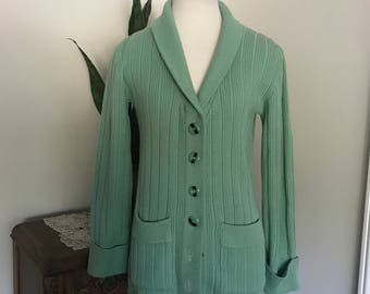 Vintage 70' Green Cardigan Sweater By COLLAGE , Outwear , boho chic